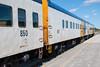 polar Bear Express along station platform in Moosonee. Coach 850, 857 and 855.