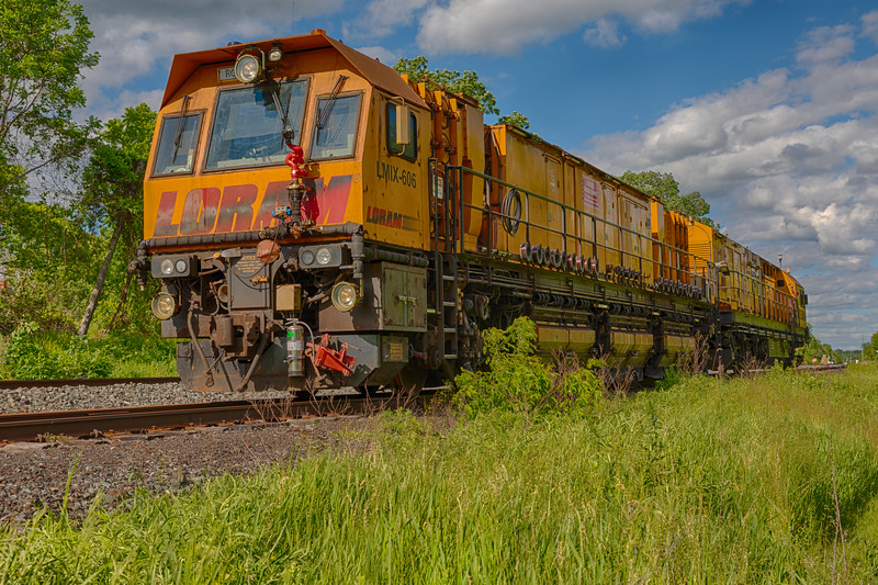Loram rail grinding unit LMIX-606 on CPR track in Belleville Ontario 2020 June 7 HDR efx balanced