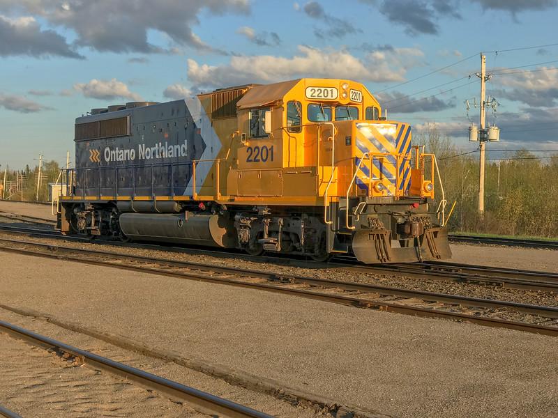 GP40-2 2201 in Cochrane. 2018 May 28