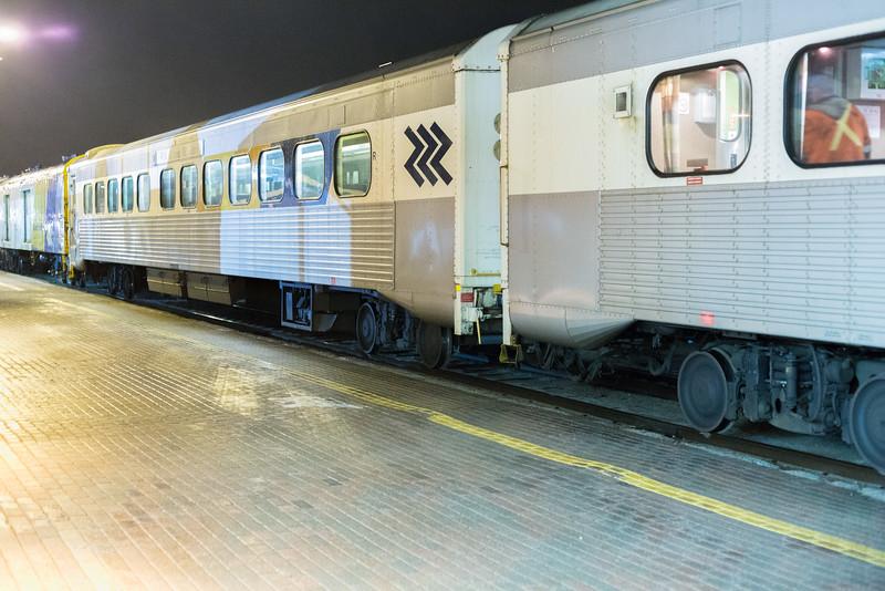 Polar Bear Express coaches in Cochrane. Coach 615, snack 701.