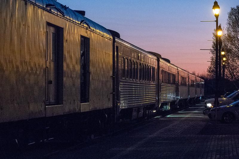 Polar Bear Express passenger consist arriving in Cochrane 2018 May 28th