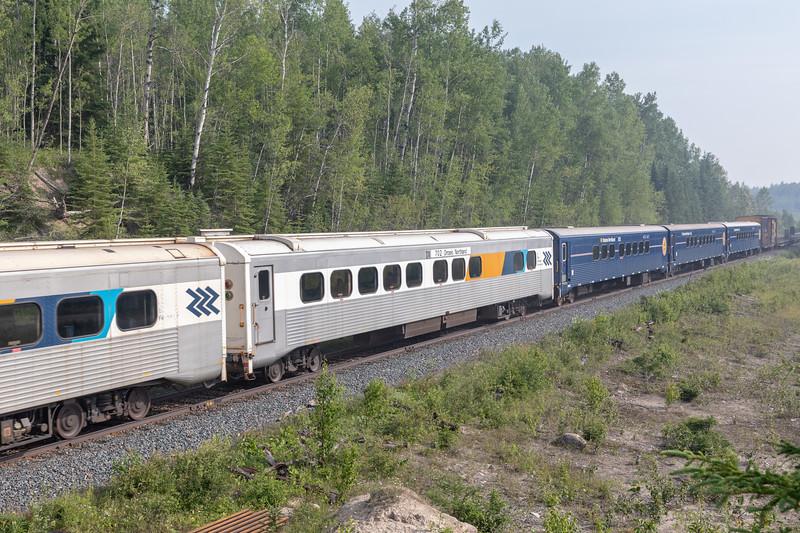 Polar Bear Express passes mileage 5 as it heads north to Moosonee 2018 July 12.