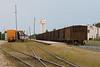 Ballast cars at Moosonee station, part of Rock train.