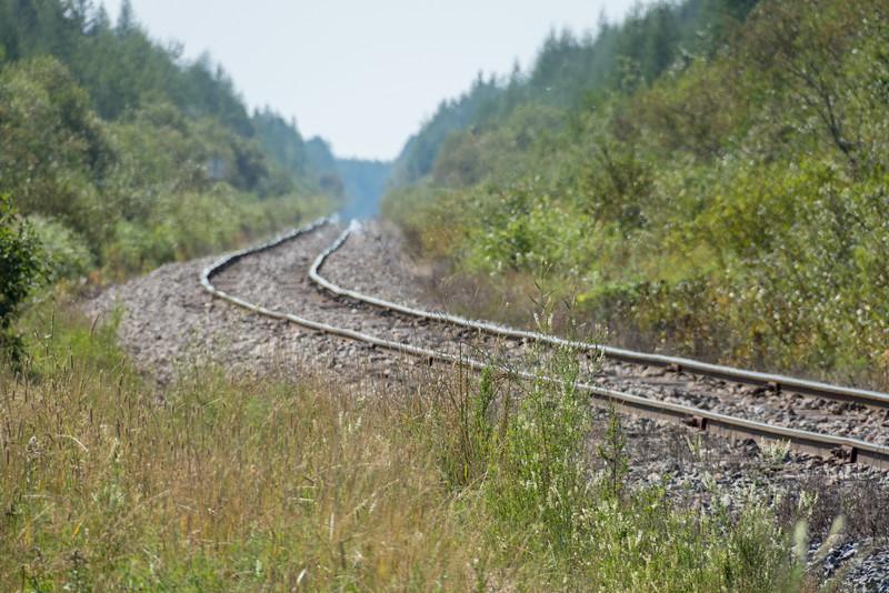 Looking down the tracks from Moosonee.