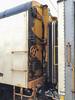 At Moosonee station, hinged end of baggage car 413 and coach 614.