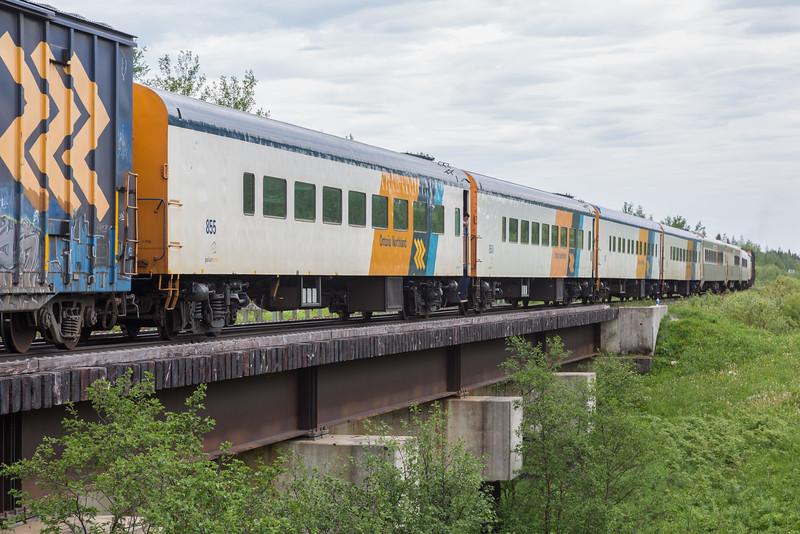 Passenger consist of the Polar Bear Express. Boxcar 7420, coach 855.