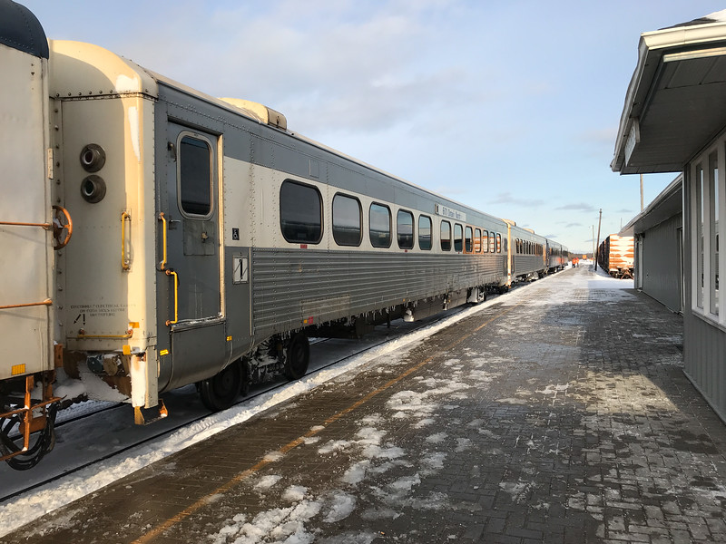 Polar Bear Express 2017 November 7th in Moosonee. Short train, three coaches and snack car.