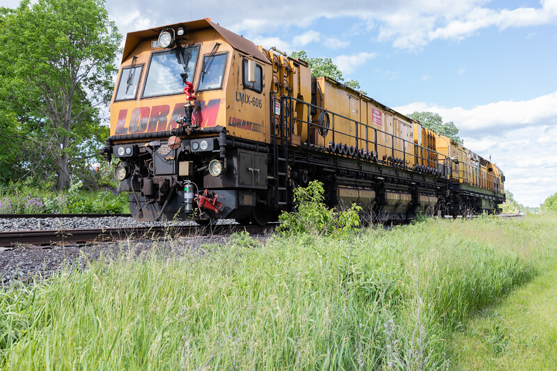 Loram rail grinding unit LMIX-606 on CPR track in Belleville Ontario 2020 June 7