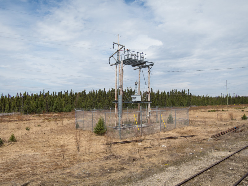 Electrical substation for microwave tower.