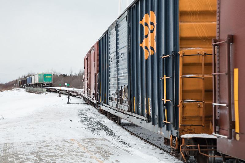 Freight 419 comes into Moosonee.