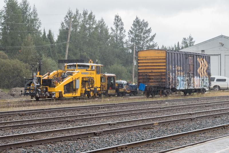 Work equipment in Moosonee in the rain.