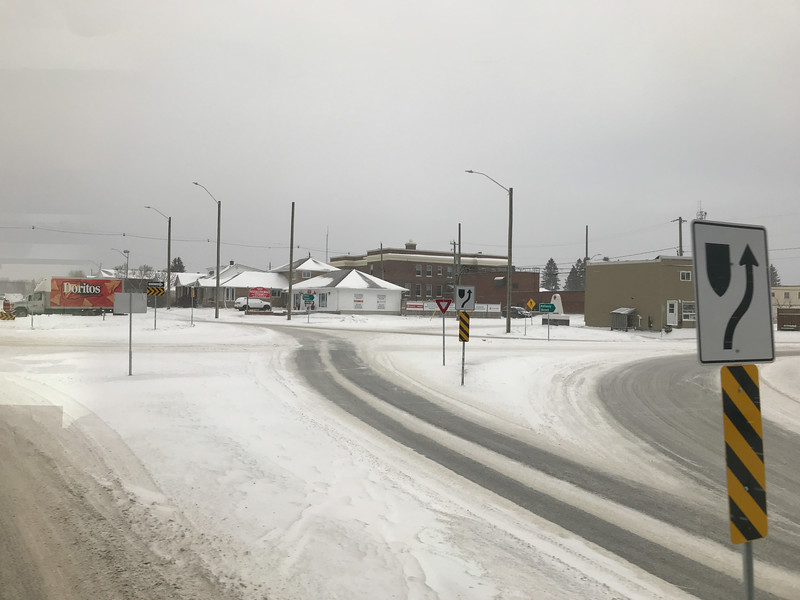 Cochrane traffic roundabout seen from the Polar Bear Express.