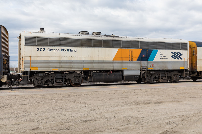 Ontario Northland Railway Auxiliary Power Unit 203 in Cochrane.