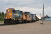 GP38-2 1808 with ballast / rock train in Moosonee. Long hood forward