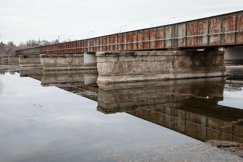 Canadian Pacific Railway bridge over the Moira River. Note that telegraph poles have been removed.pp