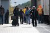 People on station platform in Moosonee.