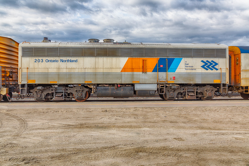 Ontario Northland Railway Auxiliary Power Unit 203 in Cochrane. HDR efx bright.