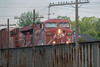 CP 8763 leads a freight train across the Moira River in Belleville.