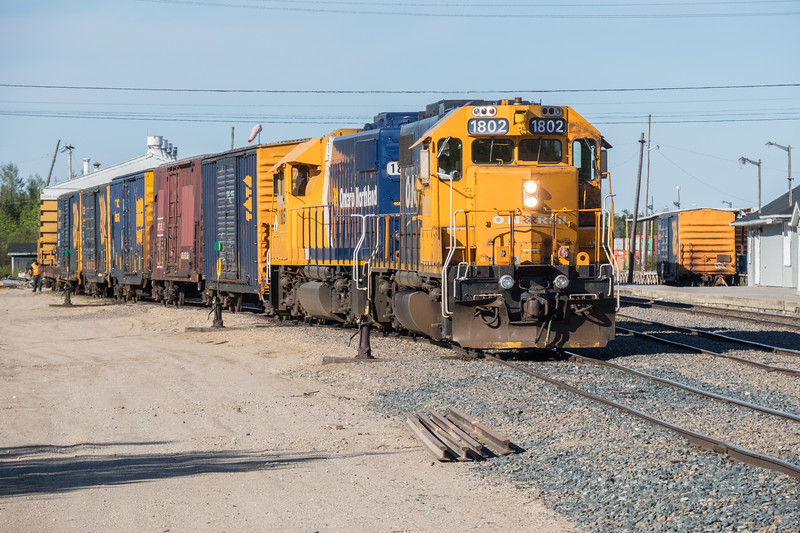 GP38-2 1802 and 1805 switching freight at Moosonee.