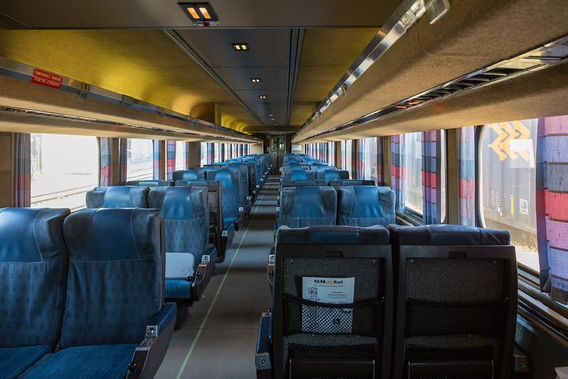 Interior Ontario Northland Railway coach 601 in Moosonee. Polar Bear Express