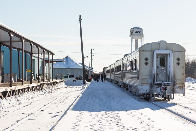 Polar Bear Express along station platform in Moosonee.