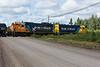 GP38-2 1808 and GP40-2 2202 crossing Bay Road in Moosonee.