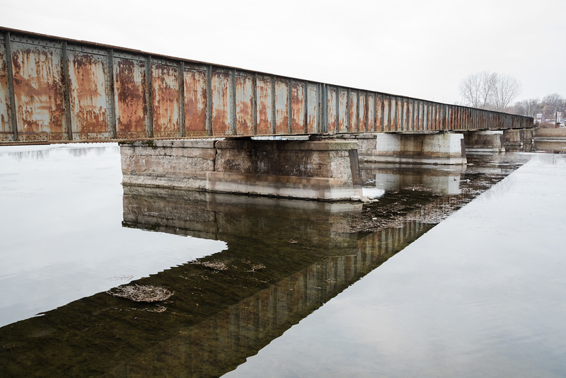 Canadian Pacific Railway bridge over the Moira River. Note that telegraph poles have been removed.
