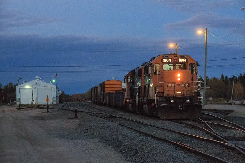 GP38-2 1804 and 1806 at Moosonee station.