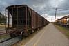 Ballast cars at Moosonee station, part of Rock train. ONT 2288.