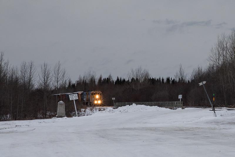 Ontario Northland Railway freight 419 coming into Moosonee.