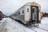 Polar Bear Express at Moosonee. View from rear. Coach 614 after coach 650.