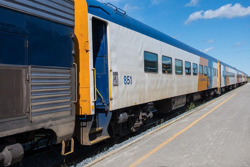 Polar Bear Express along station platform in Moosonee. Coach 851.