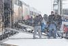 Unloading a snowmobile from the Polar Bear Express.p