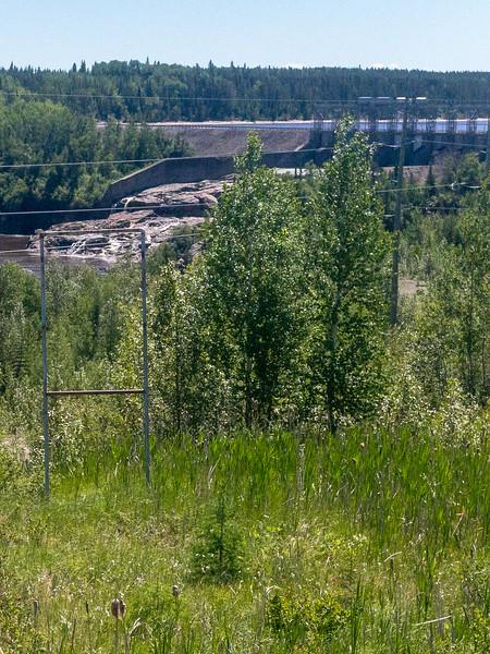 Otter Rapids dam taken from the Polar Bear Express 2018 June 24. Crop.