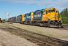 Freight 419 in Moosonee. GP38-2 1800 and GP40-2 2202.