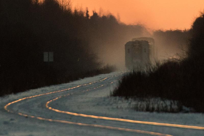 Polar Bear Express heads south from Moosonee.  Enlargement.