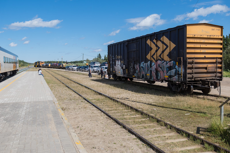 Polar Bear Express in Moosonee, dropping off and picking up vehicles.