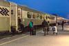Polar Bear Express arriving in Cochrane. Coaches.
