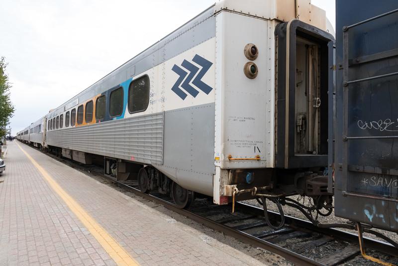 Passenger consist of the Polar Bear Express in Cochrane.