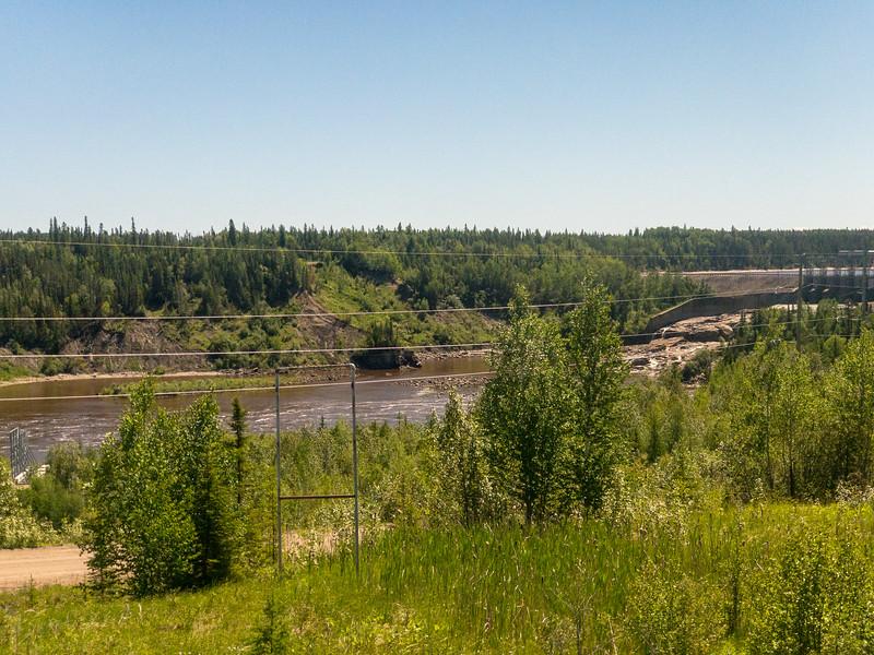 Otter Rapids dam taken from the Polar Bear Express 2018 June 24.