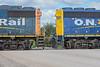 GP38-2 1808 and GP40-2 2202 crossing Ferguson Road in Moosonee.