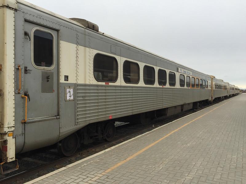 Polar Bear Express in Moosonee. Passenger consist all former GO transit coaches.