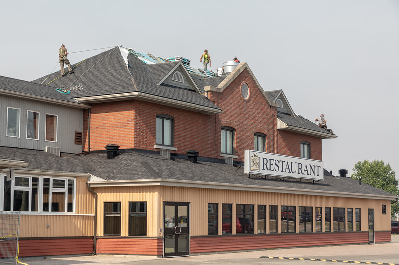 Roof work at the Station Inn in Cochrane.