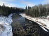 The Abitibi River being crossed on the Ontario Northland Railway north of Cochrane.