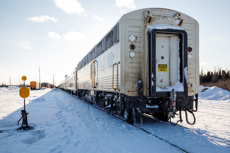 Auxiliary Power Unit 203 (APU) at the rear of the Polar Bear Express in Moosonee.