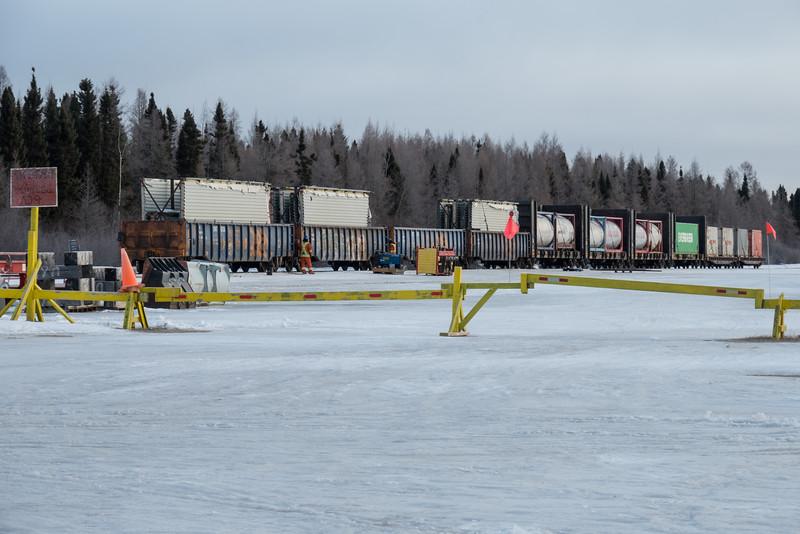 Freight cars at DeBeers siding in Moosonee.