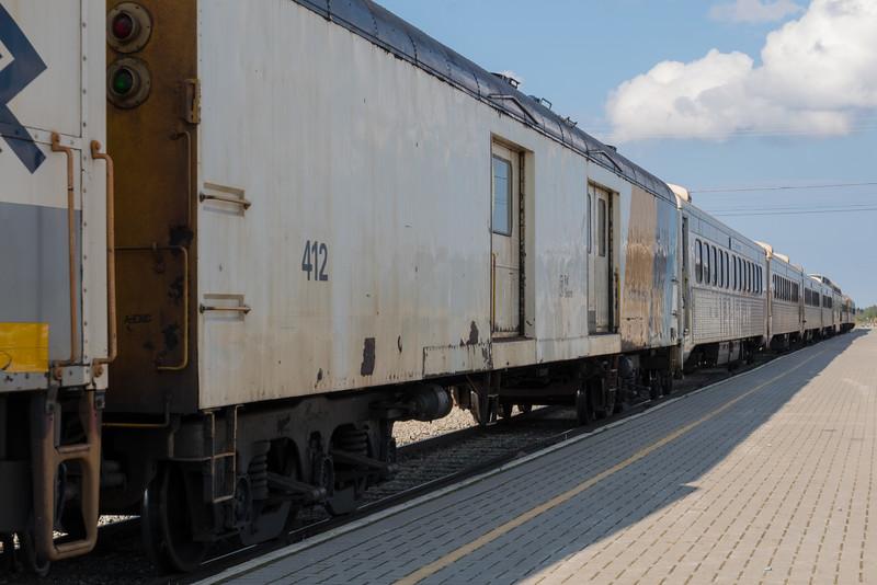 Passenger consist of the Polar Bear Express in Moosonee. Baggage car 412.