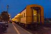 Passenger consist of the Polar Bear Express along station platform in Cochrane. Coach 855.