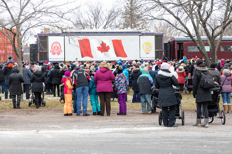 People watching the Canadian Pacific Railway Holiday Train arrive in Belleville 2018 November 29.