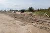 Tracks crossing Ferguson Road in Moosonee.